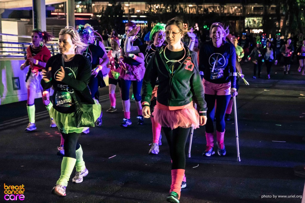 Electric Run woman crutches